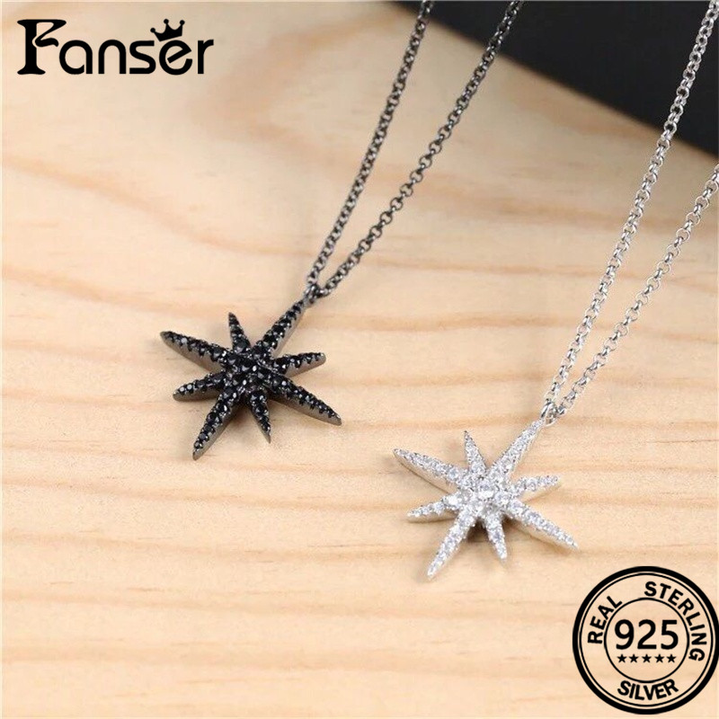 FANSER Sterling Silver 925 A&P&M fashion six corner Polaris necklace inlaid with white crystal female jewelry Antique black