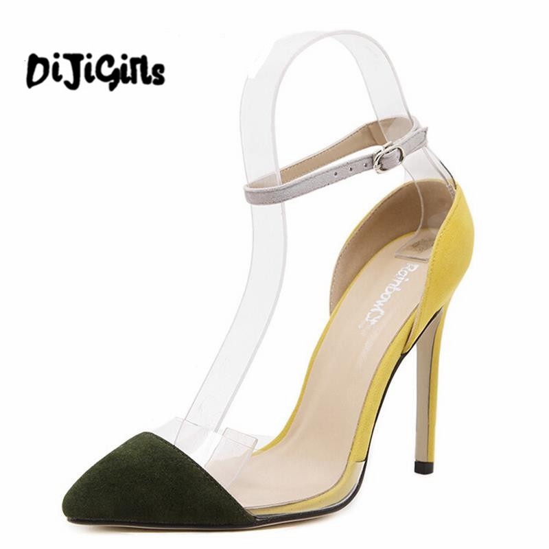 Plus size 2017 New brand transparent splicing pointed toe shallow mouth high heels single women shoes lady pumps Party sandals lady glitter high fashion designer brand bow soft flock plus size 43 leisure pointed toe flats square heels single shoes slip on