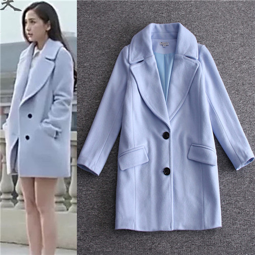 Popular Blue Wool Coat Women-Buy Cheap Blue Wool Coat Women lots ...
