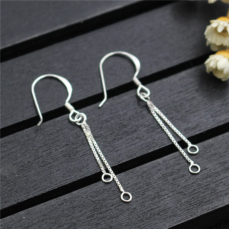 1 Pair 925 Sterling Silver Dangling Earring Jewelry Making Supplies DIY Finding