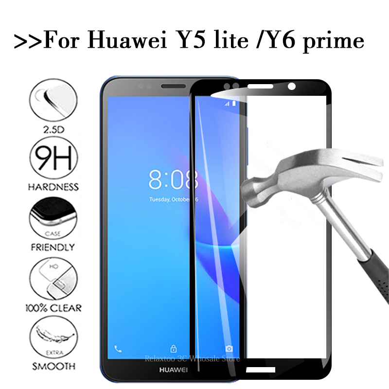 Full Cover Protective Glass For Huawei Y5 Lite 2018 Screen Protector On For Huawei Y6 Prime 2018 Tempered Glass Y 5 6 Light Film