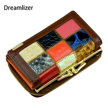 Royal Short Genuine Leather Wallet Women Random Color Patchwork Female Purse Trifold Zipper Coin Pocket
