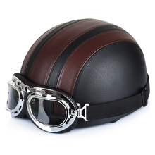 Motorcycle Helmet Synthetic Leather Vintage Motorcycle Cruiser Touring Open Face Half Motor Scooter Helmets Visor Goggles