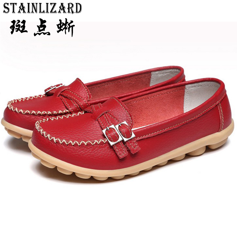 2017 Moccasins Loafers Soft Slip on Women Flats Female Shoes Mother Casual Shoes Fashion Woman PU Leather Ladies Shoes 5-DT915 women ladies flats vintage pu leather loafers pointed toe silver metal design