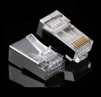 10Pcs / Lot Metal Shielded CAT5E RJ45 8P8C Ethernet Network Modular Plug LAN Cable Adapter Connector Head Plug