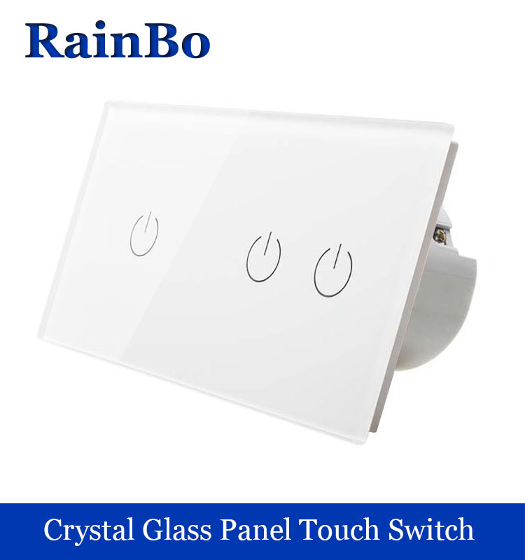 rainbo 2Frame Crystal Glass Panel Switch Wall Switch EU Touch Switch Screen Wall Light Switch 1gang1way+2gang1way A291121W/B smart home eu touch switch wireless remote control wall touch switch 3 gang 1 way white crystal glass panel waterproof power