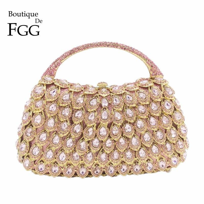 Boutique De FGG Pink Crystal Rhinestone Clutch Handbag Women Metal Minaudiere Top Handle Tote Purse Wedding