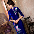 2016 new arrival velvet cheongsam dress vintage fashion plus size S-4XL solid color elastic chinese traditional dress