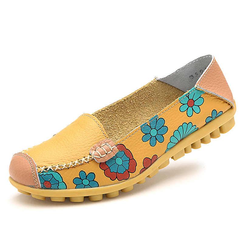 Plardin/Летние балетки из коровьей кожи с цветочным принтом; женская обувь из натуральной кожи; женская обувь на плоской подошве; гибкие лоферы в горошек для медсестры; Appliquesm