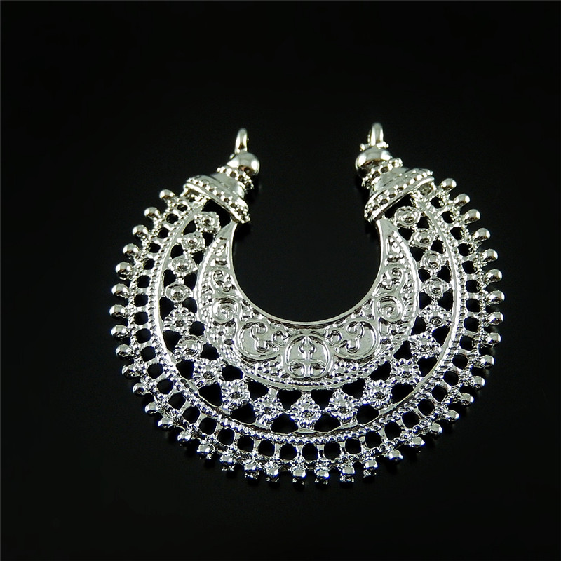 (10Pieces)Vintage Silver Hollow Moon Jewelry Connector Bracelet Charms 39*39mm Necklace Pendant Jewelry Key Chain Hanger 52064