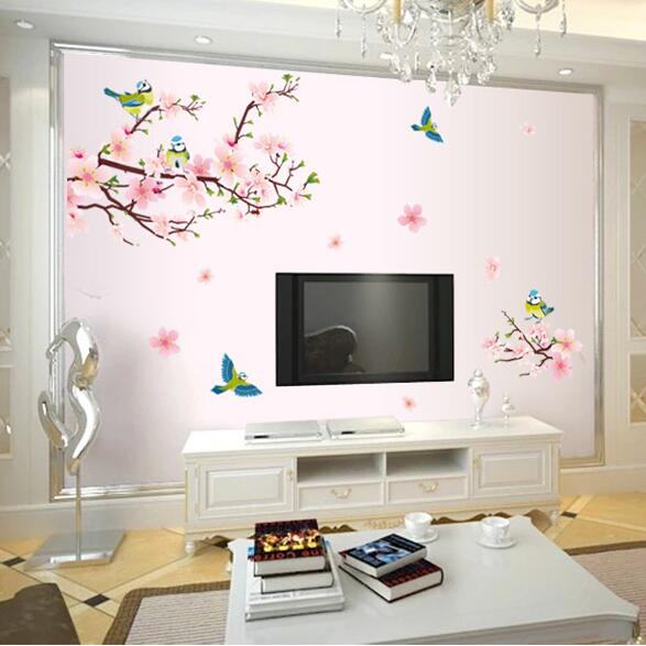 Flowers Magpie Birds Room Home Decor Removable Wall Stickers Decals Decorations