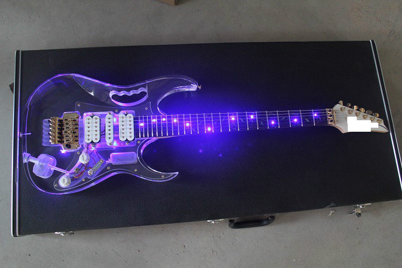 LED Light Electric Guitar Maple Acrylic Body Crystal Guitar Blue Sweet Sound