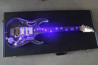 LED Light Electric Guitar Maple Acrylic Body Crystal Guitar Blue Sweet Sound