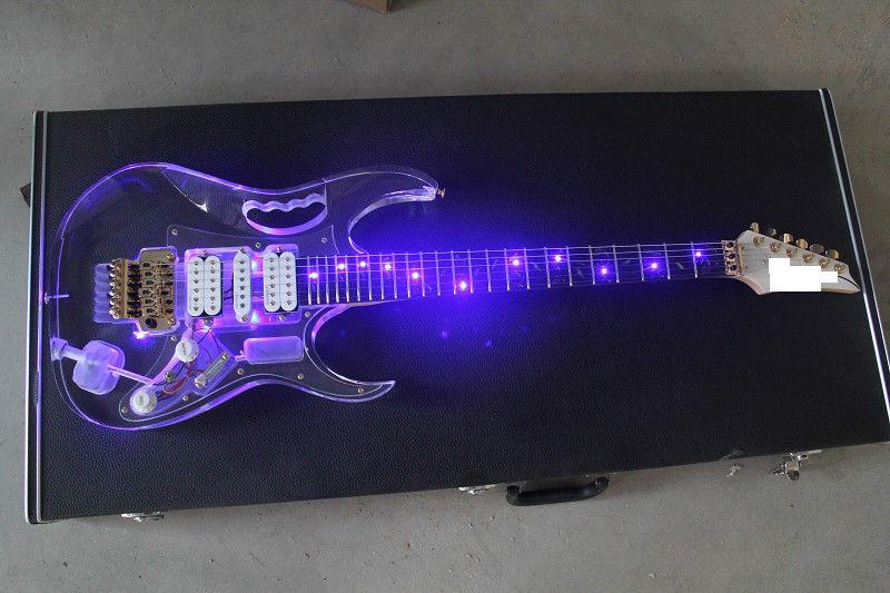 Lumière LED guitare électrique érable acrylique corps cristal guitare bleu doux son