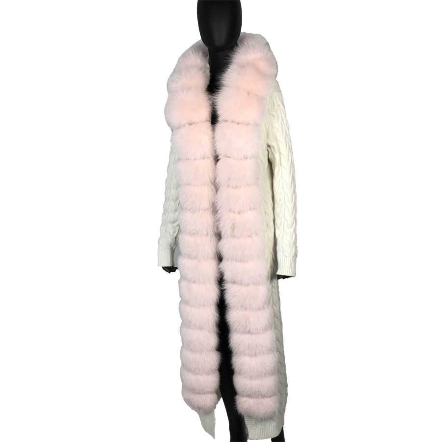натуральный песца Модные Повседневное Для женщин длинные кардиганы с воротником песца меховое пальто шаль с капюшоном  трикотажный  Теплый кардиган с мехом