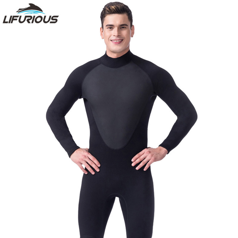 LIFURIOUS Brand Black 3mm Full Body Neoprene Scuba Dive Wetsuit Men Diving Suit Spearfishing Surf Swim Equipment Swimwear neoprene 2mm men black long sleeve wetsuit jacket tops surf diving swim suit full zipper scuba snokling men bathing beach shirts