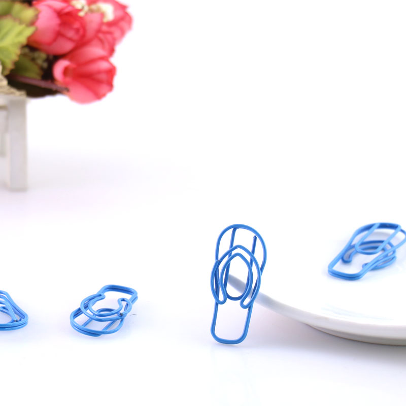 TUTU 10 Pcs Clogs House Slipper Shape Paper Clips Color Funny Kawaii Bookmark Office Shool Stationery Marking Clips H0146