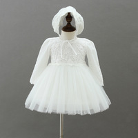 BBWOWLIN Ivory Lace Long sleeve Baby Dress Christening Baptism with Hat Baby Girl 1st 2nd Birthday Dresses Party 9075