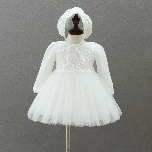 5bbf77a315abc BBWOWLIN ivoire dentelle à manches longues bébé robe baptême baptême avec  chapeau bébé fille 1st 2nd