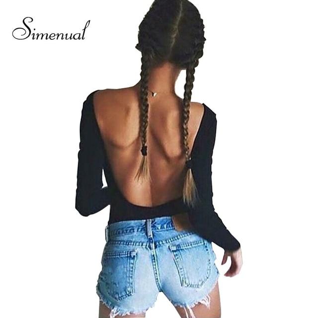 Sin espalda de manga larga otoño bodysuit mujeres 2018 vendaje fitness ajustado negro monos sexy caliente bodycon ropa