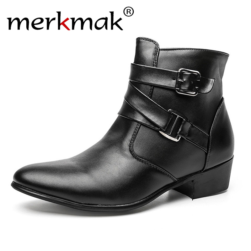 New 2018 British Style Casual Men Autumn Ankle Boots Heels Fashion Pointed Toe Martin Boots Trendy Men Leather Boots Shoes Men 2 colors 2017 new men s full grain leather business casual popular british style ankle boots rivets pointed toe shoes for men