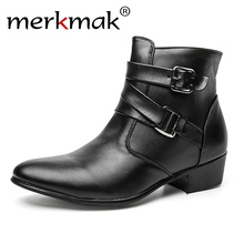 купить New 2014 british style casual men autumn ankle boots heels fashion pointed toe Martin Boots Men Leather Boots Shoes men LS129 по цене 1979.28 рублей