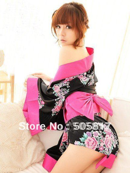 Free shipping Sexy floral kimono robes bathrobe Japanese ladies kimono lingerie costumes black pink color H8099