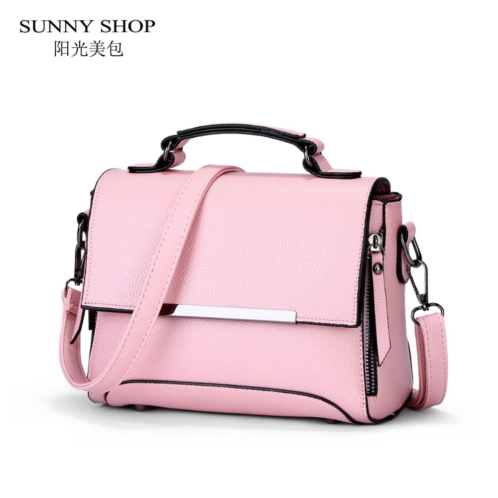 SUNNY SHOP 2017 Spring New Student Style Small Women Bag High Quality PU Leather Handbag For Girls Pink Messenger Bag sunny shop 2017 spring new small women shoulder bag high quality genuine leather women bag brand designer handbag gift for lady