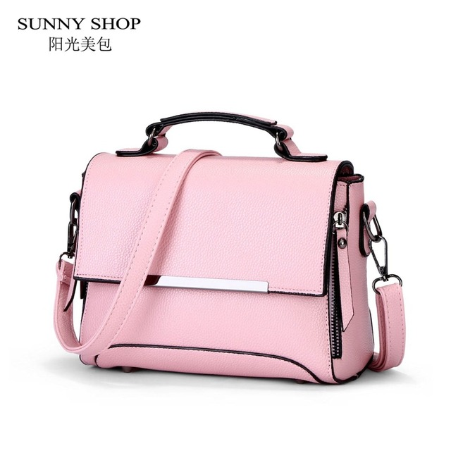 5265e3c2f6e US $47.4 |SUNNY SHOP 2017 Spring New Student Style Small Women Bag High  Quality PU Leather Handbag For Girls Pink Messenger Bag-in Shoulder Bags  from ...