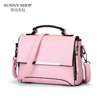 SUNNY SHOP 2017 Spring New Student Style Small Women Bag High Quality PU Leather Handbag For Girls Pink Messenger Bag