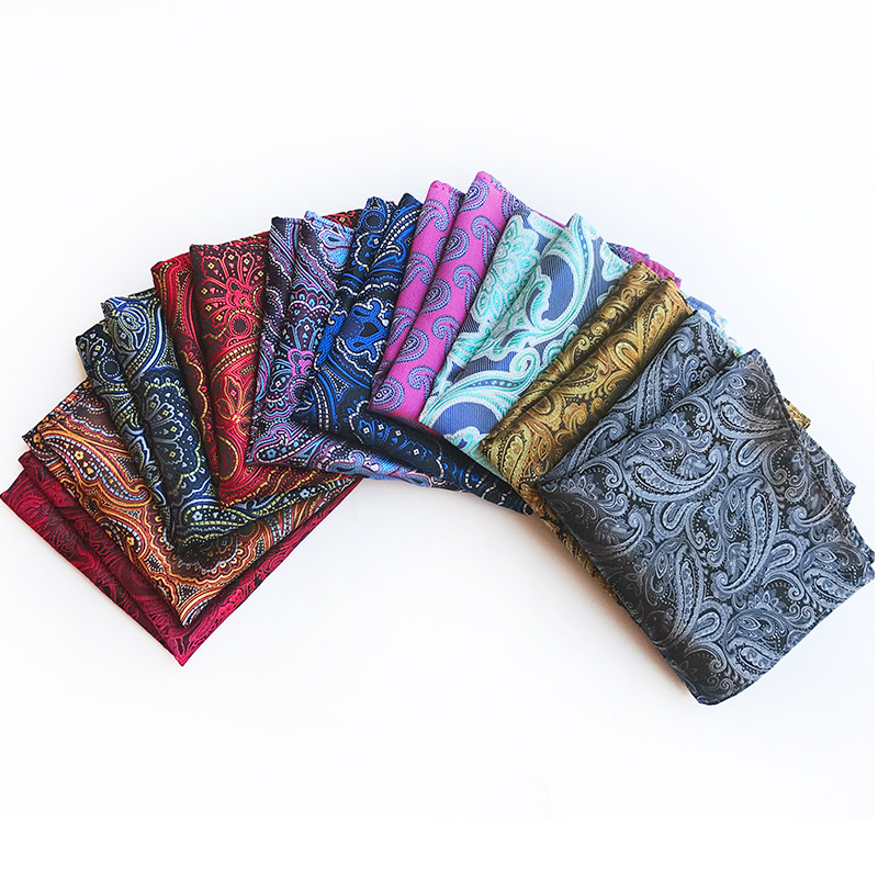 New Design Polyester Hanky Gold & Black Paisley Men Fashion Plaid Pocket Square Handkerchiefs For Men Suit Tie Handkerchief