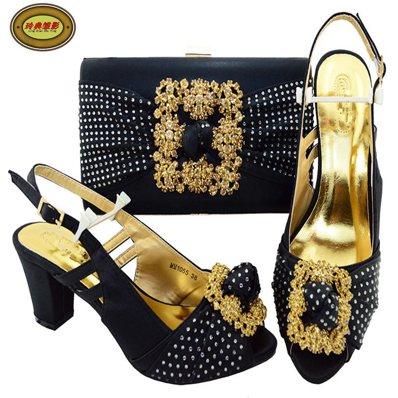 MM1055 Upscale African Party Shoes And Bag Fashion Woman Pumps And Bag Set Good Quality Lady Shoes High Heels Hot Sale hot sale good quality inductive