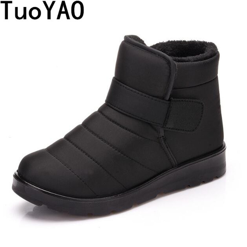 Hot Sale 2020 New Fashion Men Boots Waterproof Ankle Snow Boots Winter Work Shoes Keep Warm Fur Men Footwear Outdoor Plush Shoes image