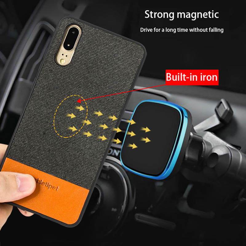 Business Phone case For Huawei P10 P20 Lite Pro Case Cowhide and Canvas Stitching cover For Mate 9 10 Pro Honor 9 V9 V10 case