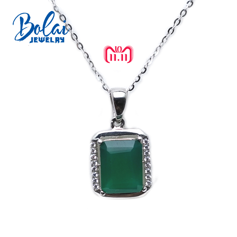 цена на bolaijewelry,classical Simple style pendant with 100%natural green agate oct 8*10mm in 925 silver gemstone jewelry with gift box