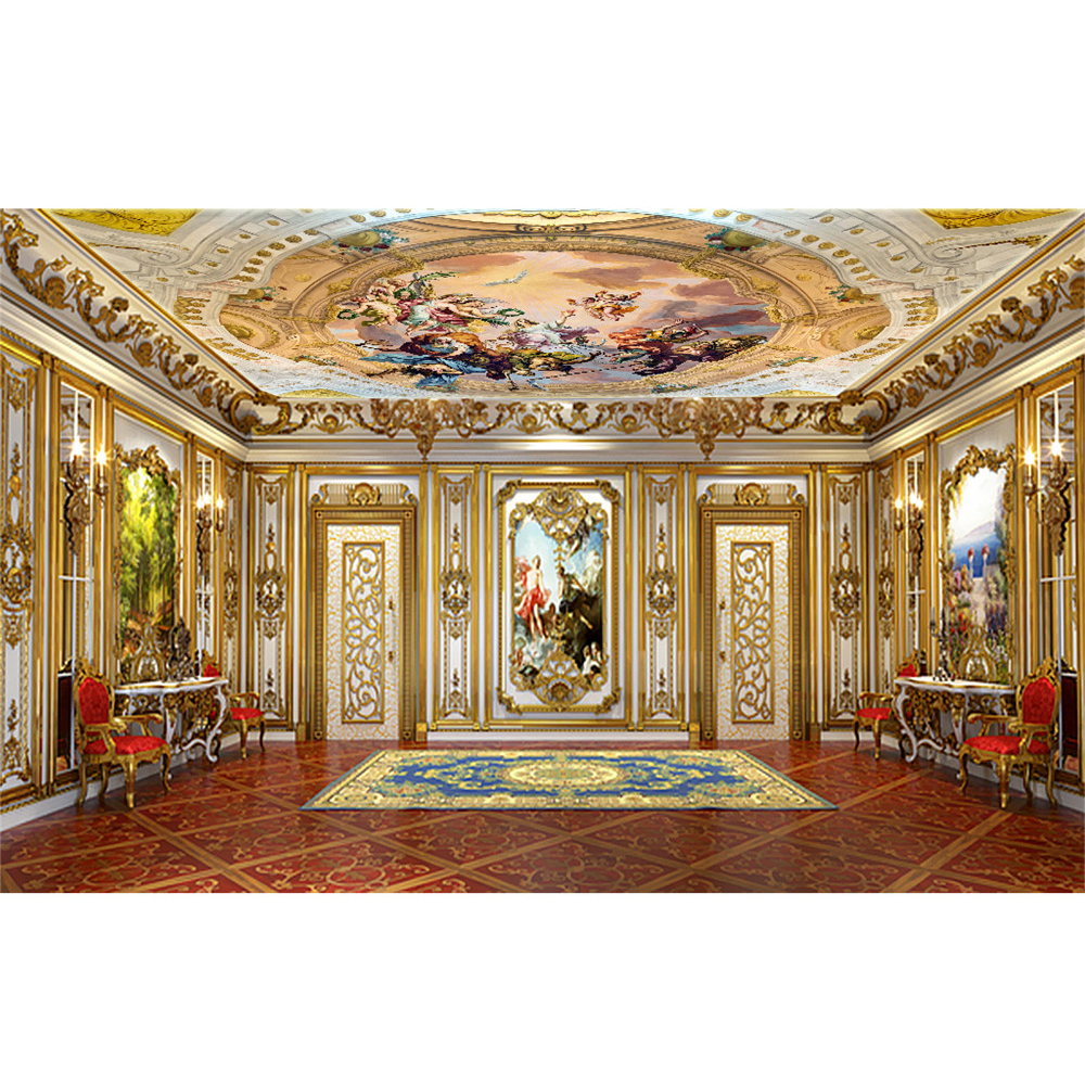 European Luxury 3d Angel Painting Ceiling Wallpaper Wall
