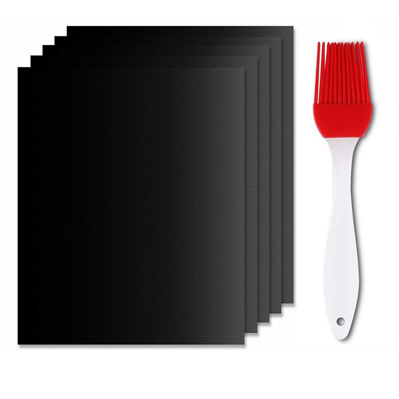 Baking Mat Set of 5 Barbecue and Oven Cooking Sheets Anti-Adhesive BBQ Sheets and Reusable Cooking Sheets for Gas Charcoal or