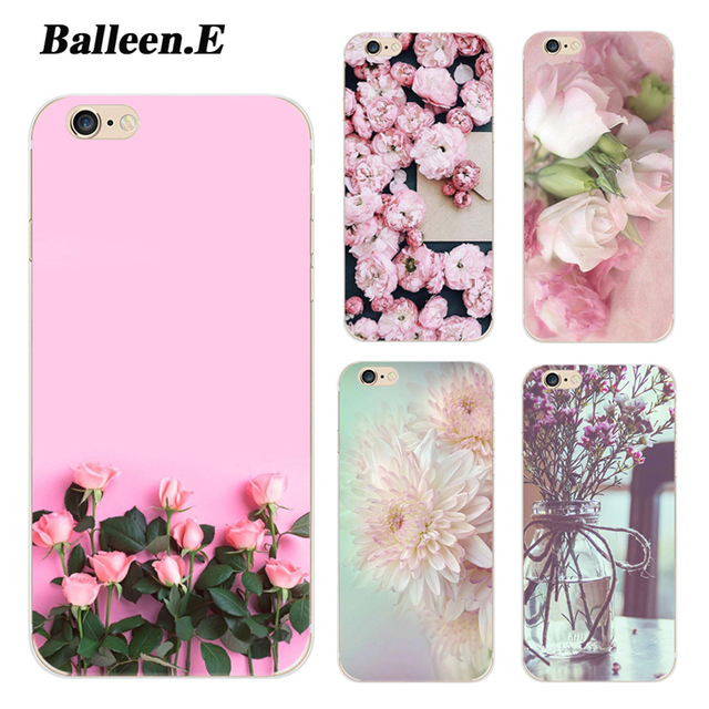 Balleen.E Beautiful Floral Rose Case For iPhone 7 6 6s Plus 5 5s SE Flowers Soft TPU Silicon Phone Back Cover Cases Capa Coque