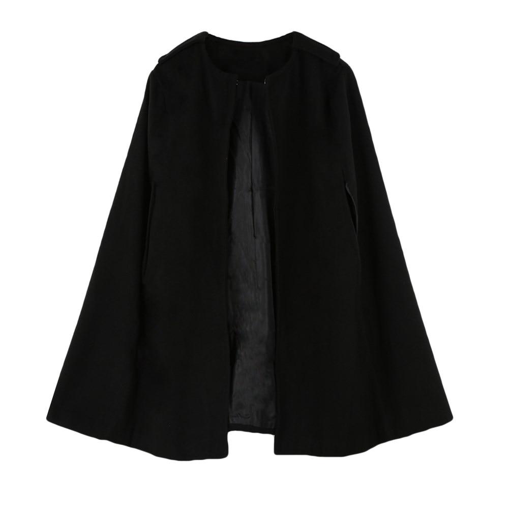 Female Loose Batwing Thin Cloak Coat Autumn Winter Camel/Black Cape Outerwear Women Elegant Warm Poncho Jacket