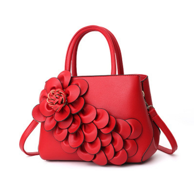 New 6 color flowers shell Women s tote Leather Clutch Bag small Ladies  Handbags Brand Women Messenger Bags Sac A Main Femme 07b620abadcd6
