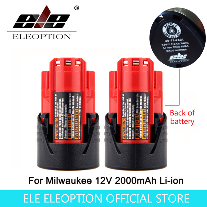 ELE ELEOPTION 2PCS Power Tool Battery For Milwaukee M12 12V 2000mAh Li-ion Lithium Rechargeable Spare Battery 48-11-2401 3pcs 12v lithium ion 1500mah power tool rechargeable battery with charger replacement for milwaukee m12 48 11 2401 48 11 2402 page 5