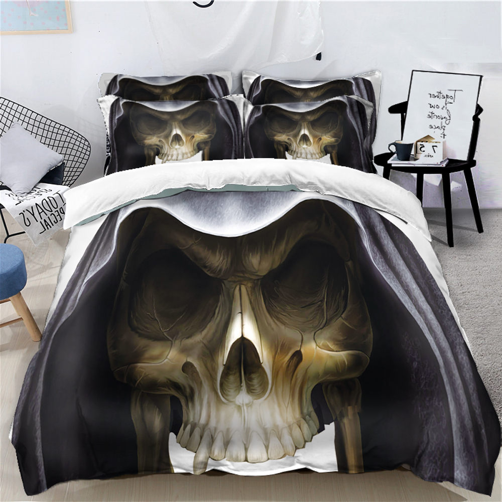 Ensemble de literie Halloween pour enfants adultes 4 pièces cadeau drôle housse de couette 3D ensemble décor citrouille linge de lit ensemble reine double super King Size