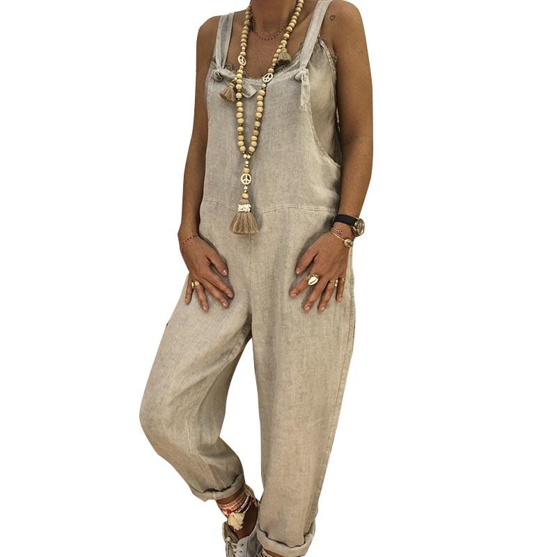 Women   Jumpsuit   Solid Color Baggy Hip Hop Harem Pants Casual Bib Pants JL