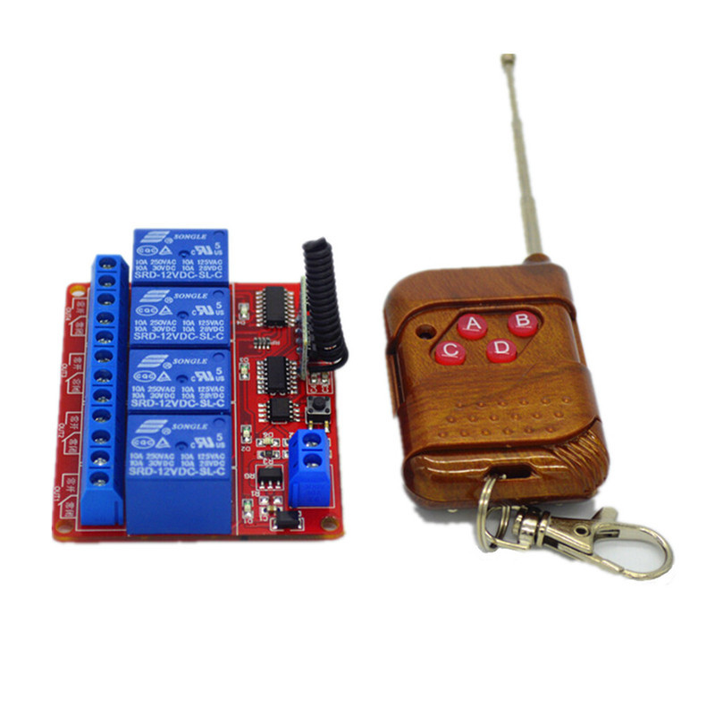 15-100m RF Wireless Remote Control Universal Remote Control 433mhz Radio Switch Transmitter Receiver DC12V 4 CH 433mhz dc12v 8ch channel wireless rf remote control switch transmitter receiver