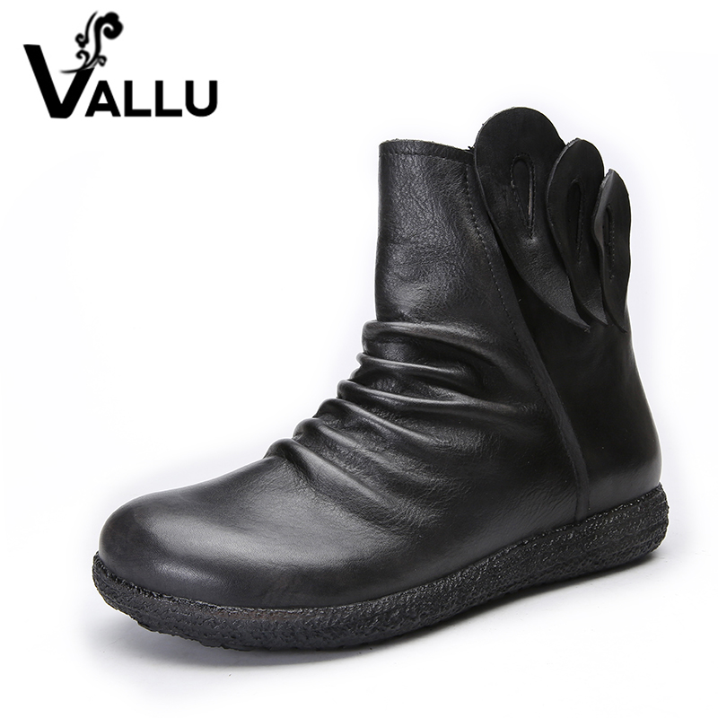 VALLU 2018 Handmade Shoes Women Flat Boots Genuine Leather Pleated Round Toes Vintage Women Ankle Boots 2018 genuine leather women boots flat heel vintage handmade women shoes ankle boots