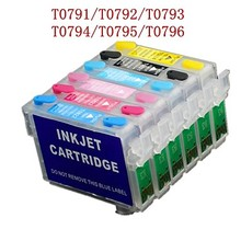1 Set for Epson T0791 - T0796 refillable ink cartridges for Epson Stylus 1400 PX700W PX800FW P50 PX830FWD 1430