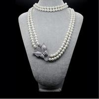 Elegant And Elegant Fashion Imitation Shell Beads Micro Zircon Double Pearl Necklace Sweater Chain Necklace Wedding