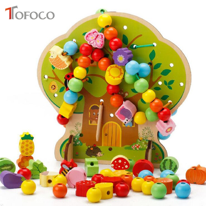 TOFOCO Montessori Educational Baby Wooden Threading Beads Cartton Animal Fruit Tree Toy DIY Puzzle Wooden Toys For Children