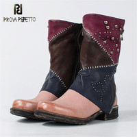 Prova Perfetto Fashion Rivets Studded Women Martin Boots Autumn Winter Female Platform Rubber Shoes Woman Flat