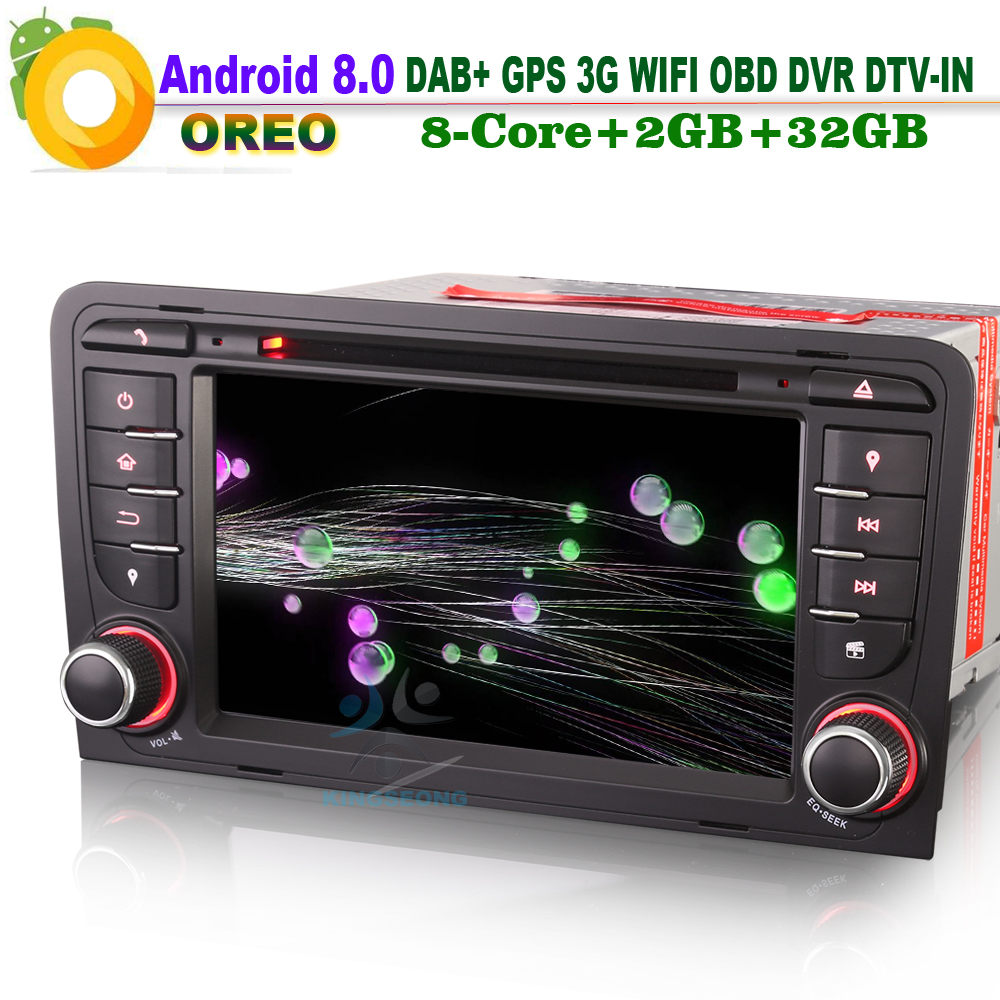 7 Android 8.0 DAB+ Sat Navi Autoradio WiFi 3G DVD OBD DTV CD Radio Bluetooth RDS Car GPS Navigation for AUDI A3 S3 RS3 RNSE-PU